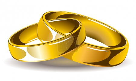 Illustration for Gold wedding rings, vector illustrations - Royalty Free Image