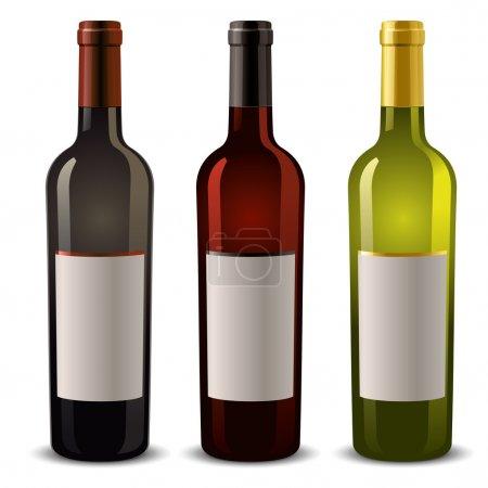 Illustration pour Bouteilles de vin avec étiquette vierge - image libre de droit