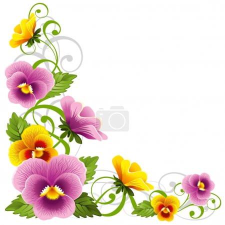 Illustration for Gentle floral design element with pansy - Royalty Free Image