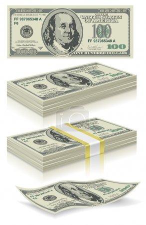 set of dollar bank notes