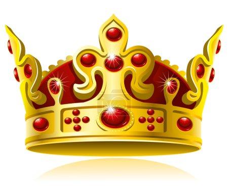 Illustration pour Couronne en or avec gemmes rouges, isolé sur fond blanc, Illustration vectorielle - image libre de droit