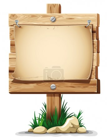 Illustration for Wooden signpost with nailed paper sheet, grass and stones. There is space for your text. Vector illustration. - Royalty Free Image