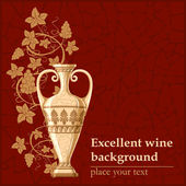 Antique amphora with grapes and leaf excellent wine background