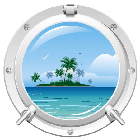 Illustration for Porthole overlooking the sea and the tropical island - Royalty Free Image