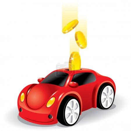 Illustration pour Investir de l'argent dans la voiture, vecteur - image libre de droit