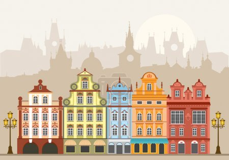 Photo for Street with houses in different architectural styles and colours. Detailed vector picture. - Royalty Free Image