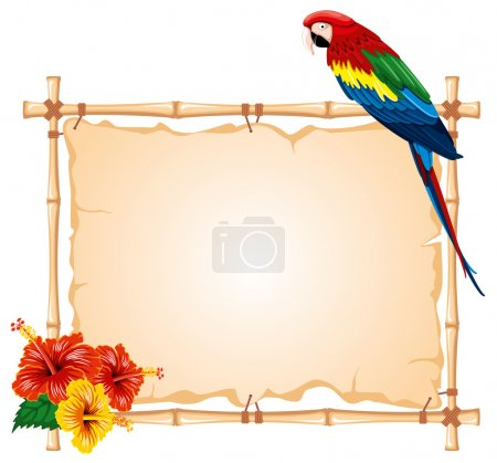 Illustration for Bright parrots sitting on a bamboo frame, decorated with tropical flowers - Royalty Free Image