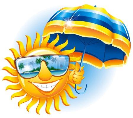 Cheerful sun with an umbrella