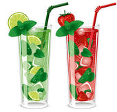 Refreshing mojito cocktails lime and strawberry with mint