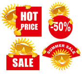Sale tags with a sun