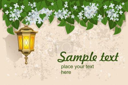 White lilacs and street lantern