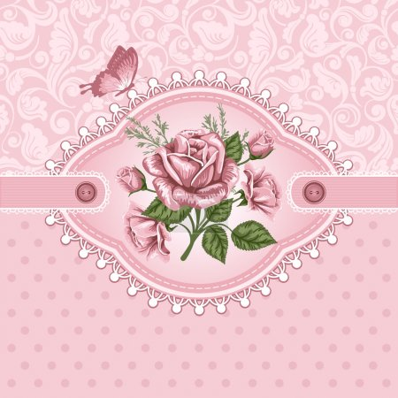 Illustration for Pink romantic floral background with vintage roses - Royalty Free Image