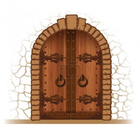 Illustration for Arched medieval wooden door in a stone wall - Royalty Free Image