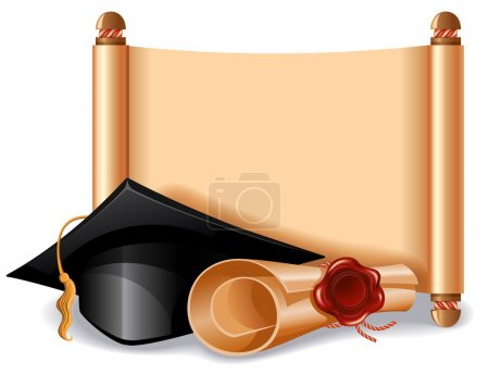 Illustration for Background with graduation cap, diploma and place for your text. Vector illustration. - Royalty Free Image