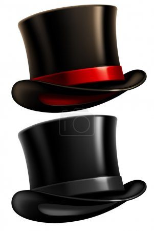 Illustration for Two black top hats isolated on white background. Vector illustration. - Royalty Free Image