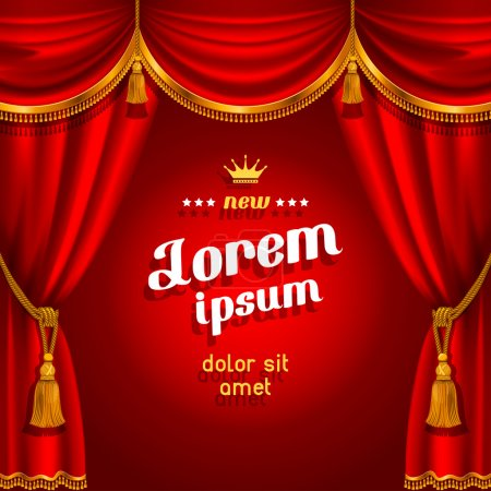 Illustration for Theater stage with red curtain. Detailed vector illustration. - Royalty Free Image