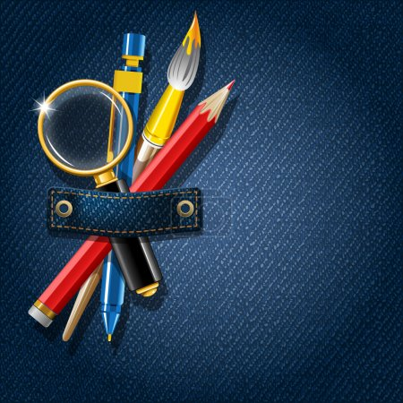 Illustration for Back to school. Jeans background with school supplies. Vector illustration. - Royalty Free Image
