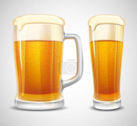 Illustration pour Bière en verre et tasse. Vecteur réaliste . - image libre de droit
