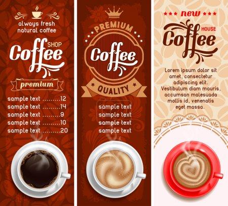 Illustration pour Ensemble de trois modèles de conception de café. Vecteur . - image libre de droit