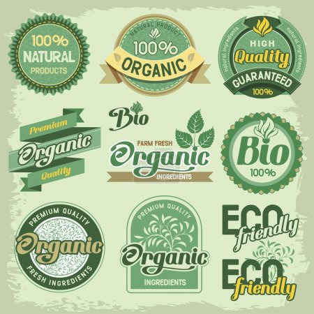 Illustration for Set of organic, eco and bio labels and elements - Royalty Free Image