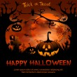 Halloween night background with pumpkin and full m...
