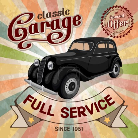 Illustration for Auto service retro poster. Grungy style vector design. - Royalty Free Image