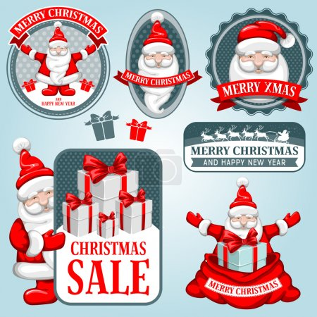 Illustration for Christmas collection of design elements with Santa Claus. - Royalty Free Image