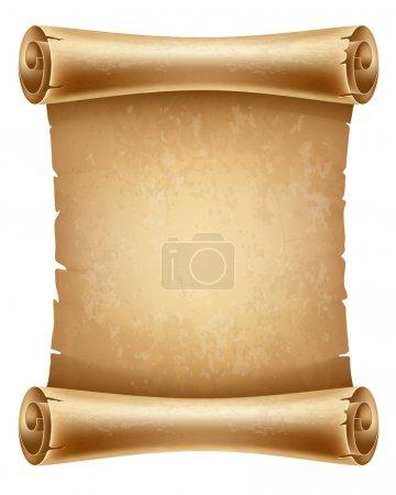 Illustration pour Vieux papier à défilement vertical avec espace pour votre texte - image libre de droit