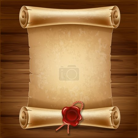 Illustration for Vertical old scroll paper on wooden background with space for your text - Royalty Free Image