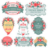 Vector set Vintage labels with flowers