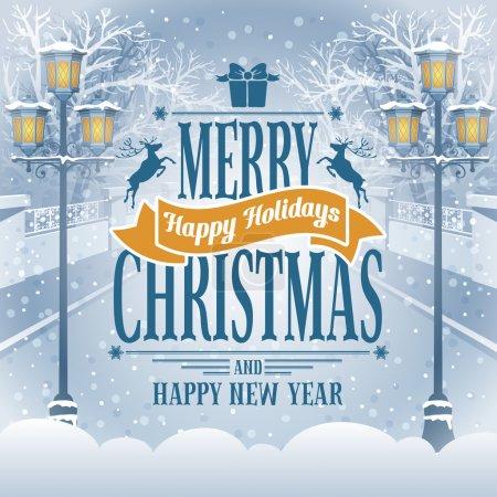 Foto de Vintage tarjeta de Navidad con las linternas en el parque cubierto de nieve. cuadro detallado vector - Imagen libre de derechos