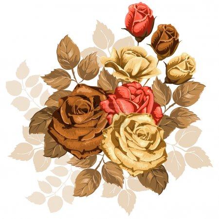 Illustration pour Belle illustration avec bouquet de roses isolées sur fond blanc. Eléments design vintage . - image libre de droit