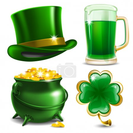 Illustration for Set of St. Patrick's Day symbols. Vector illustration - Royalty Free Image