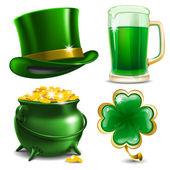 Set of St Patrick's Day symbols Vector illustration