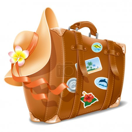 Illustration for Vector illustration with retro travel suitcase and beach hat - Royalty Free Image