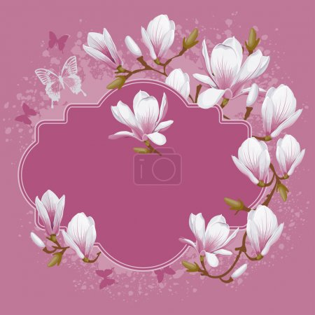 Illustration for Vintage vector card with spring flowers of magnolia in pastel colors - Royalty Free Image