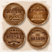 Set of wooden barrels with alcohol drinks emblems Vector illustration