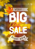 Advertisement about the autumn sale on defocused background with leaves Vector illustration