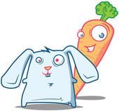 Two pals - mr Carrot and a little crazy Rabbit