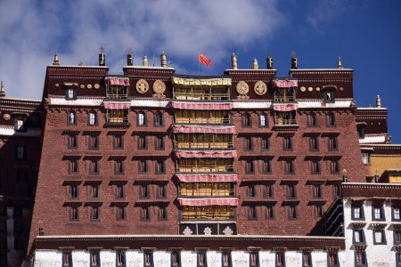 Photo for The Potala Palace in Lhasa in the Tibet Autonomous Region of China.The Potala Palace was the chief residence of the Dalai Lama until the 14th Dalai Lama fled to Dharamsala, India, during the 1959 Tibetan uprising. - Royalty Free Image