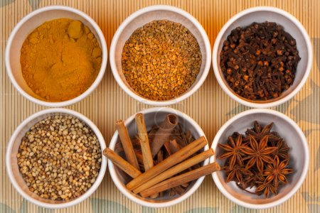 Photo for A range of spices - They are Coriander Seeds, Turmeric, Cinnamon Cannle, Dill Seeds, Star Anise. and Cloves. - Royalty Free Image