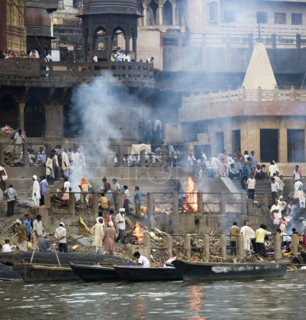 Varanasi - India. Hindu Cremation Ghats on the ban...