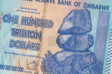 Banknote of Zimbabwe - One Hundred Trillion Dollars