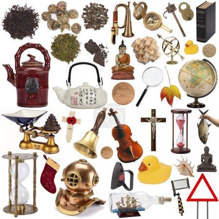 Photo pour Une sélection d'objets à découper - Isolé sur fond blanc . - image libre de droit