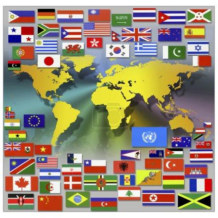 Photo pour Drapeaux et carte du monde - image libre de droit