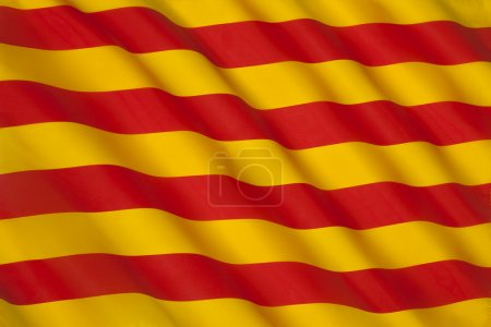 The flag of Catalonia in Spain. Known as the Senye...