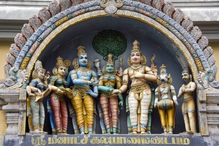 Photo for Hindu deities at Minakshi Sundareshvera Hindu Temple in the town of Madurai in the Tamil Nadu region of Southern India - Royalty Free Image