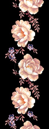 Rose border embroidery black