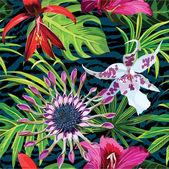 Egzotikus trópusi virág mintás, zebra állat háttér