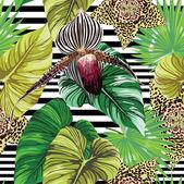 """Постер, картина, фотообои """"Экзотические цветы орхидеи и пятна с пальмовых листьев тропических узором"""""""
